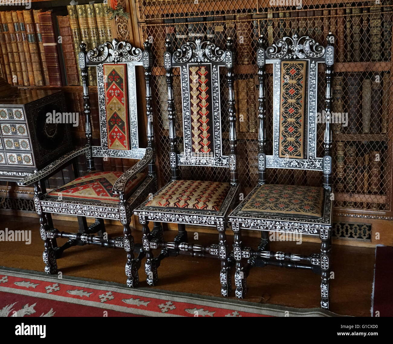 Indian chairs made with Coromandel Ivory, cane and textile. Dated 17th Century - Stock Image