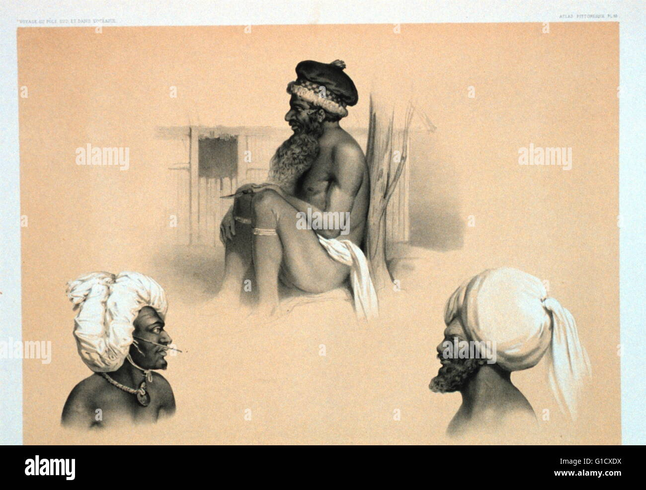 Plate 85. Tanoa, Abouni-Valou, Roi de Pao. by Émile Lassalle (1813-1871) a French painter and lithographer. - Stock Image
