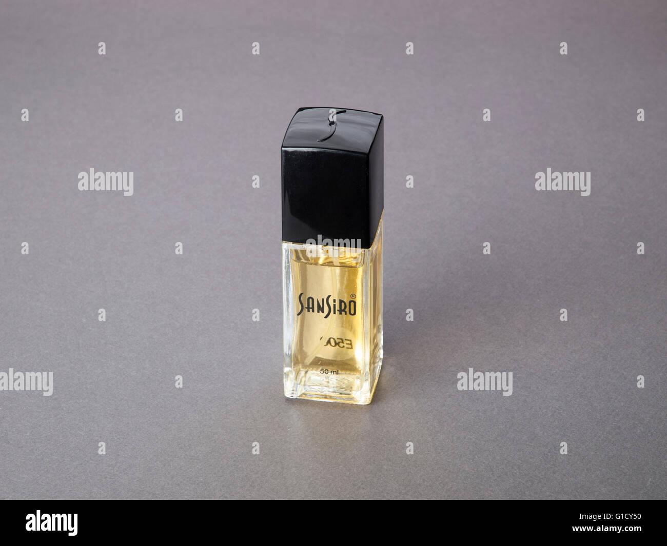 Bottle of Sansiro perfume - Stock Image