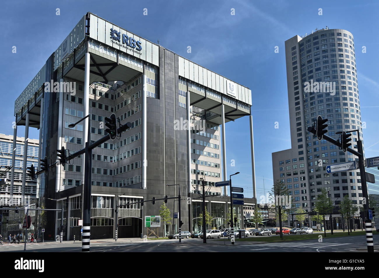 RBS Royal Bank of Scotland and Unilever Netherlands Dutch Town City  Rotterdam Weena, - Stock Image