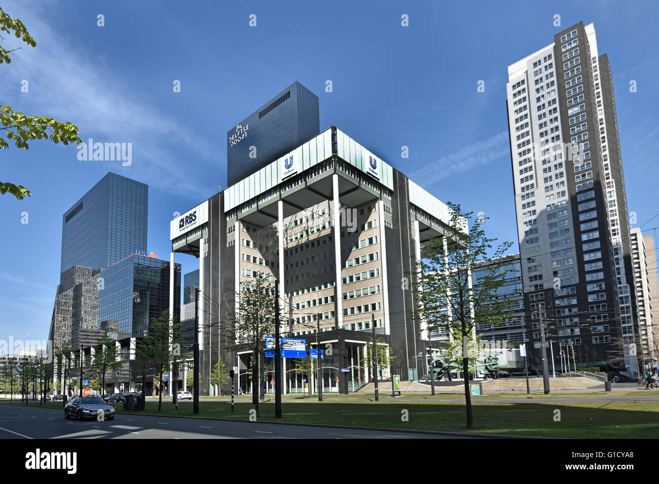 RBS Royal Bank of Scotland and Unilever Deftse Poort Netherlands Dutch Town City  Rotterdam Weena, Stock Photo