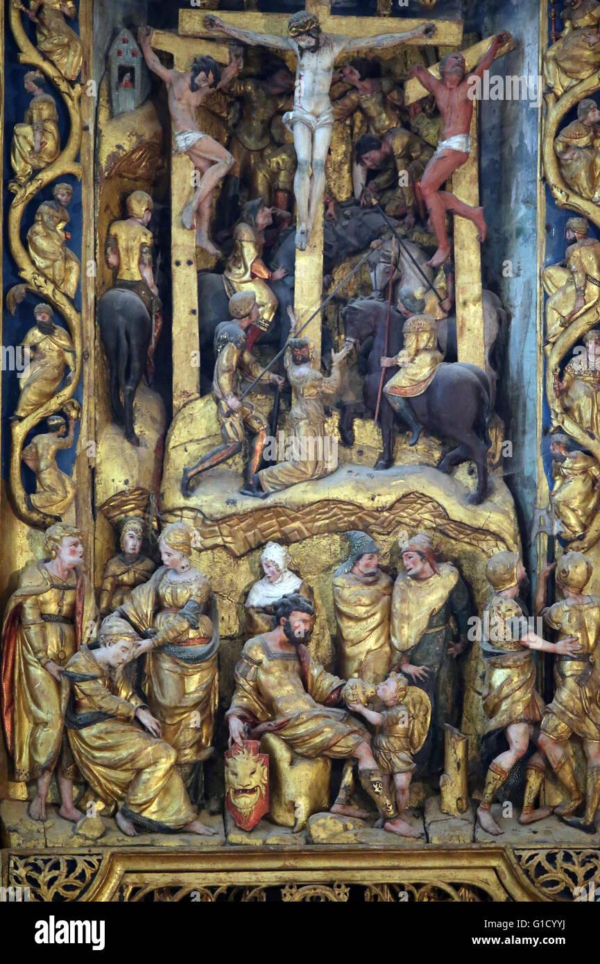 Beaume-Les-Messieurs abbey. The sixteenth-century retable. Crucifixon. Beaume-Les-Messieurs. France. - Stock Image