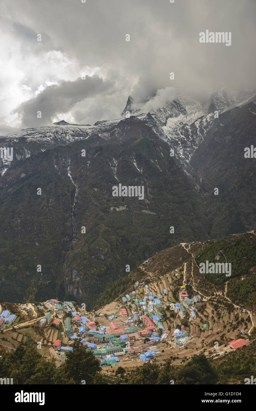 Namche Bazaar village on route to Everest base camp - Stock Image