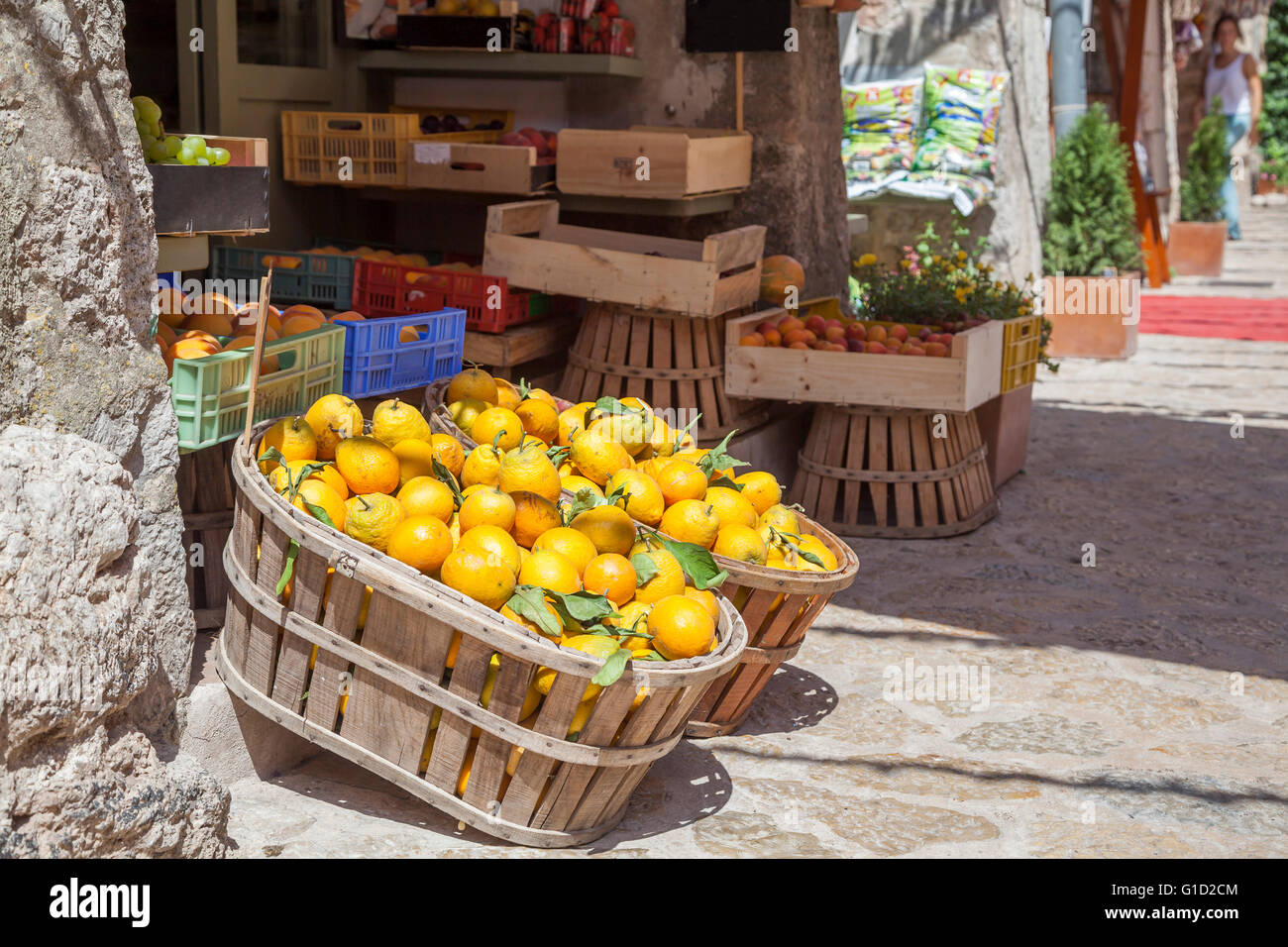 Boxes of lemons in a fruit shop in the village Valldemosa, Majorca island, Spain Stock Photo