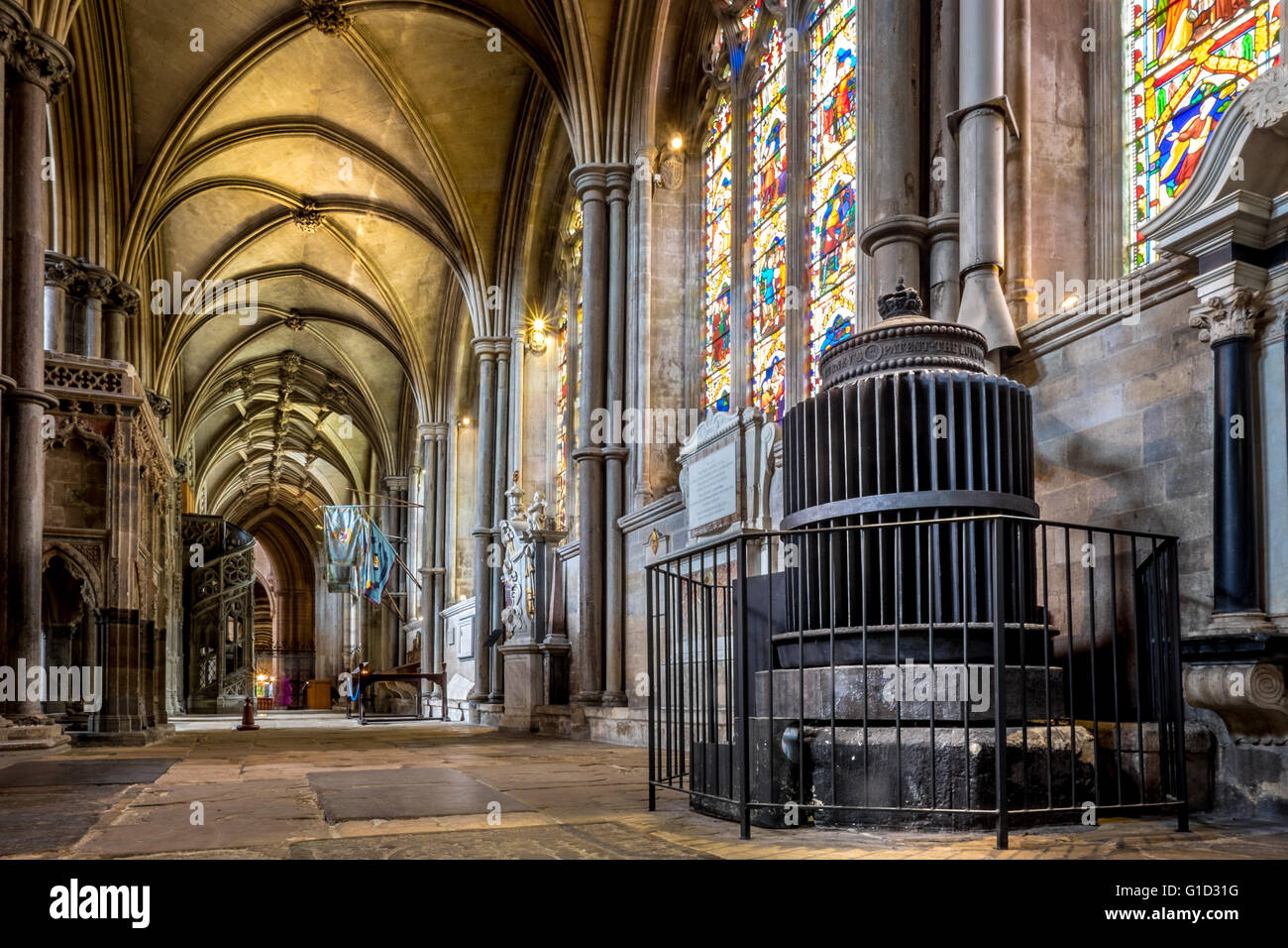 Ely Cathedral interior heating radiator. - Stock Image