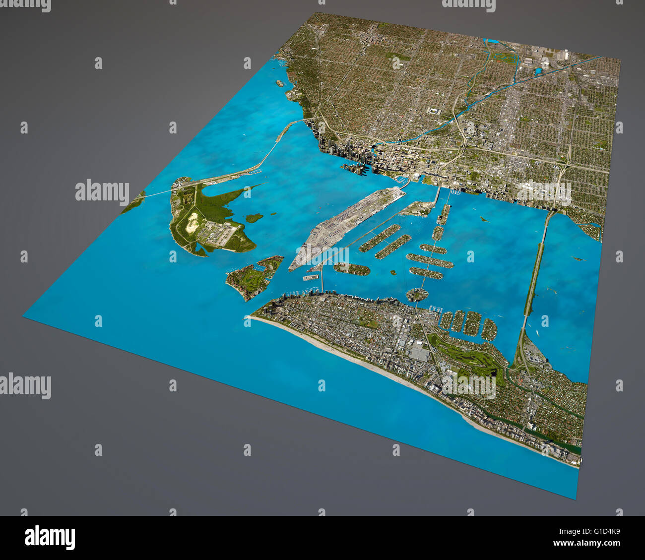 Miami Map Satellite View Aerial View Florida United States Of