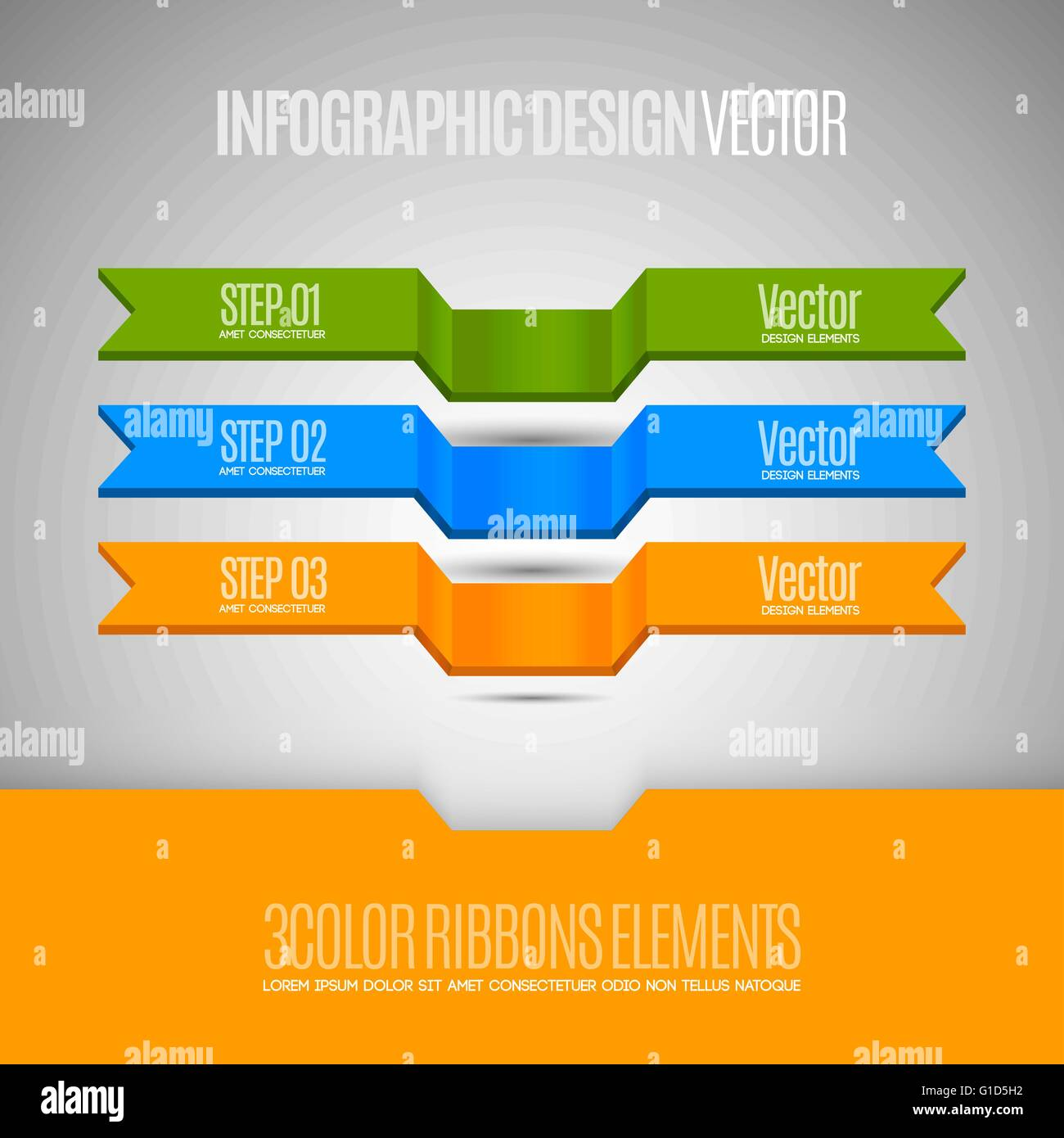 Three banners as infographic design. Vector elements for business report. Stock Vector