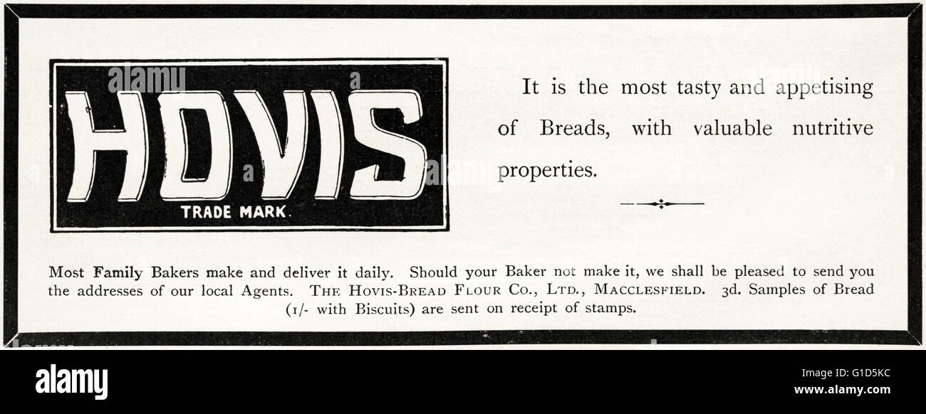 Original old vintage magazine advert from the late Victorian era dated 1900. Advertisment advertising Hovis bread - Stock Image