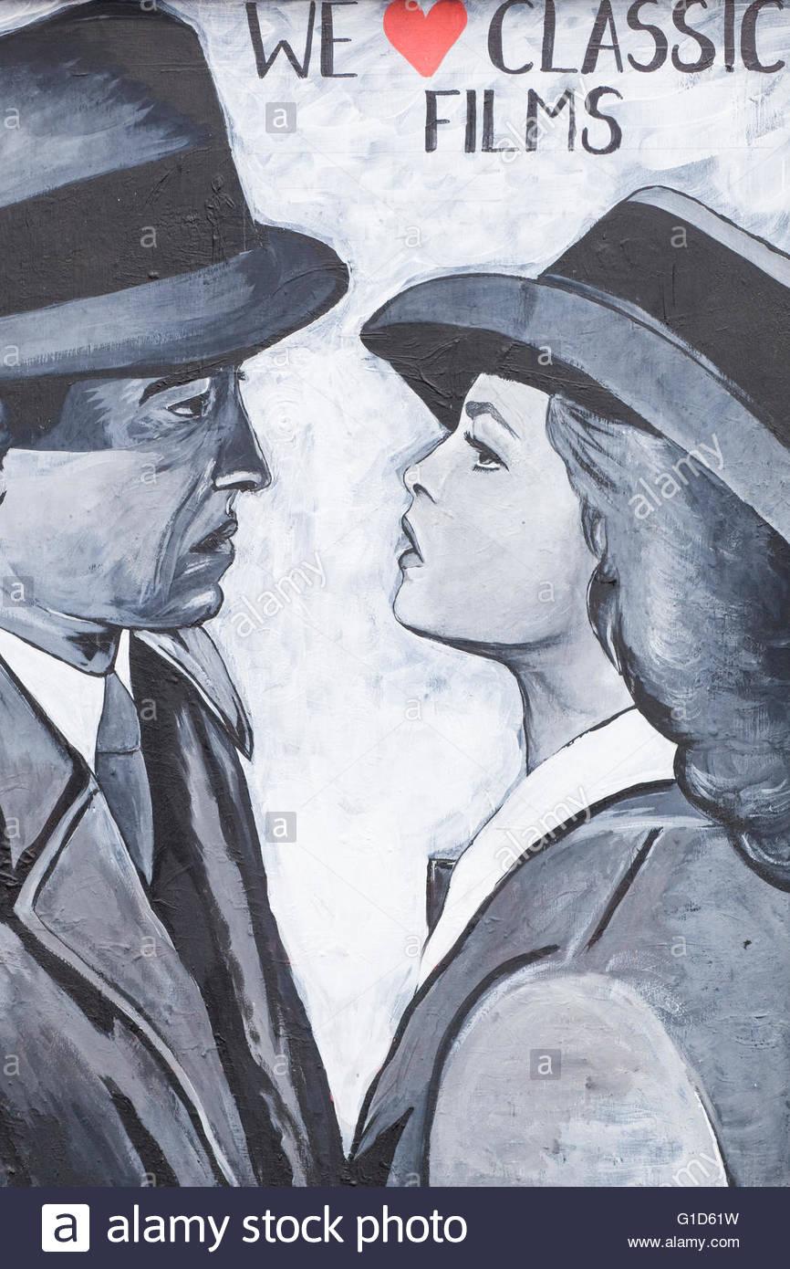 Casablanca Humphrey Bogart And Ingrid Bergman Hollywood Film B/&W Poster