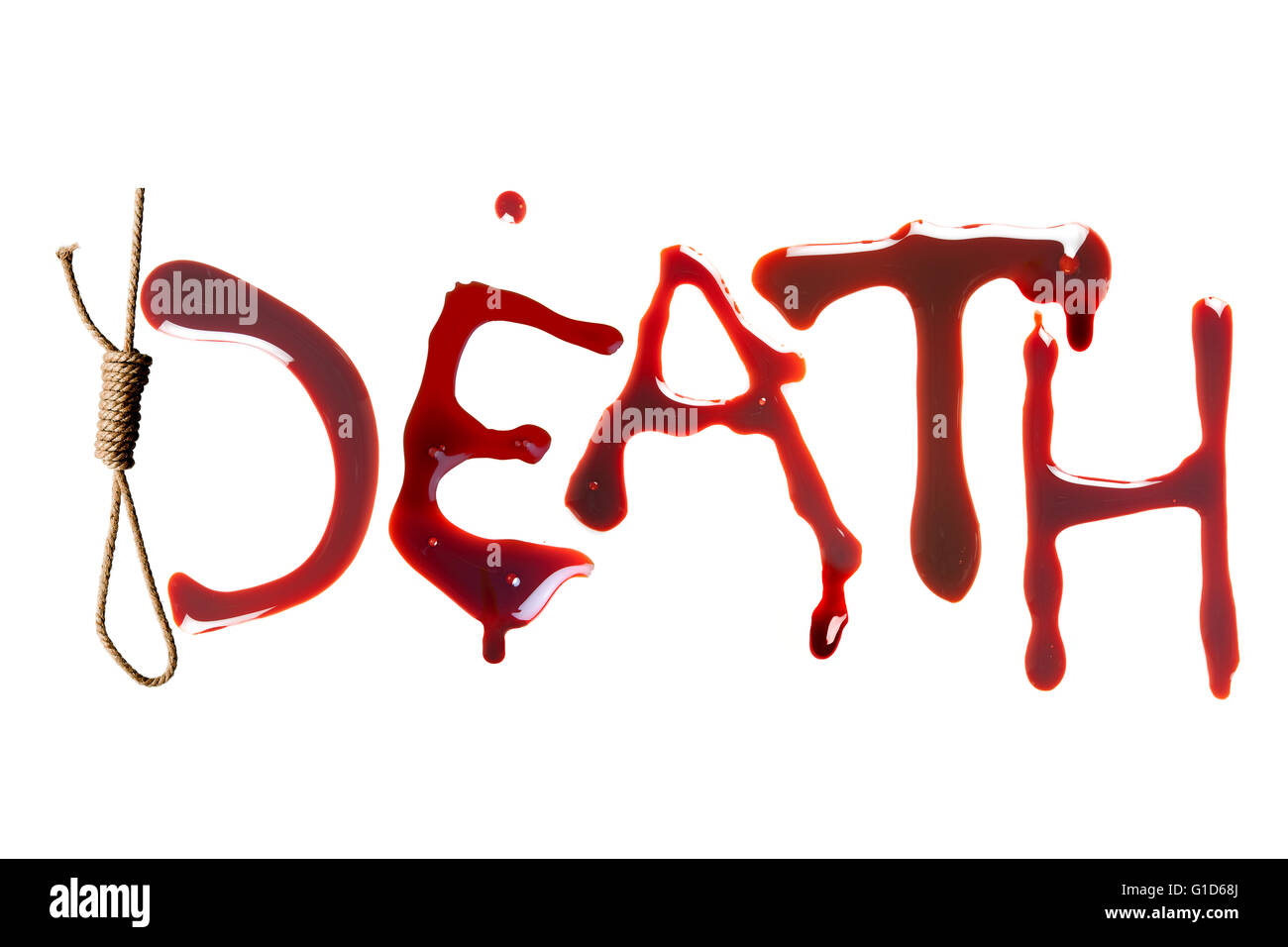 Noose And Bloody Letters As A Symbol Of Death Stock Photo 104167186