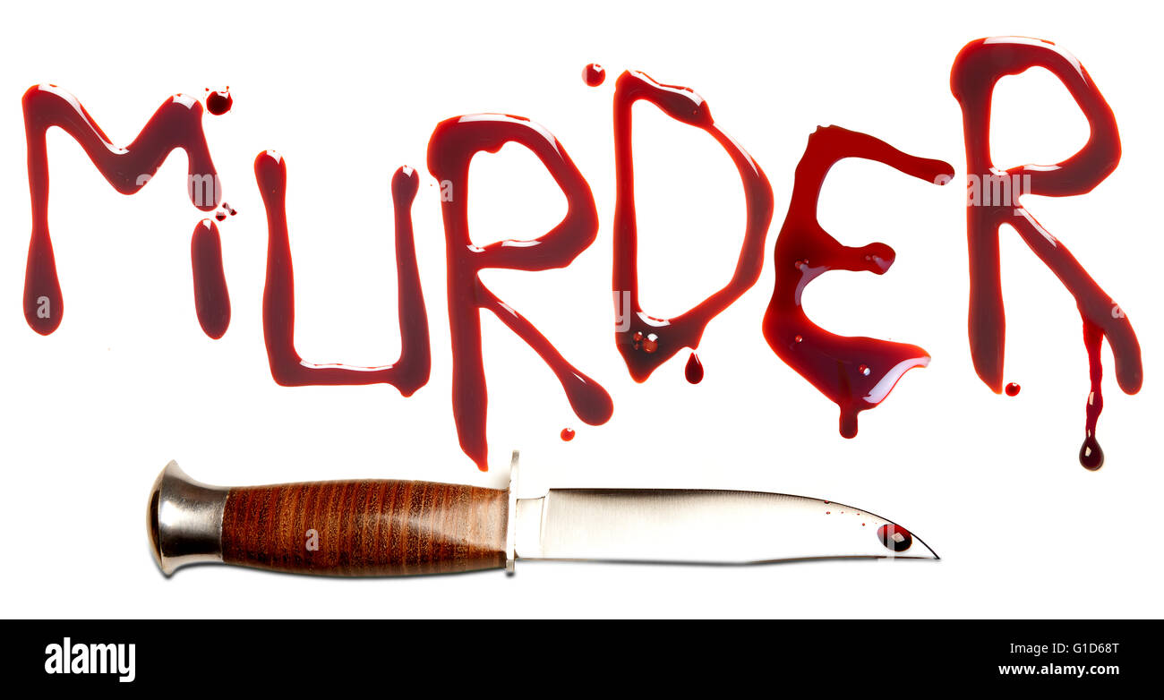 Bloody letters and sharp dagger as a symbol of murder and crime - Stock Image