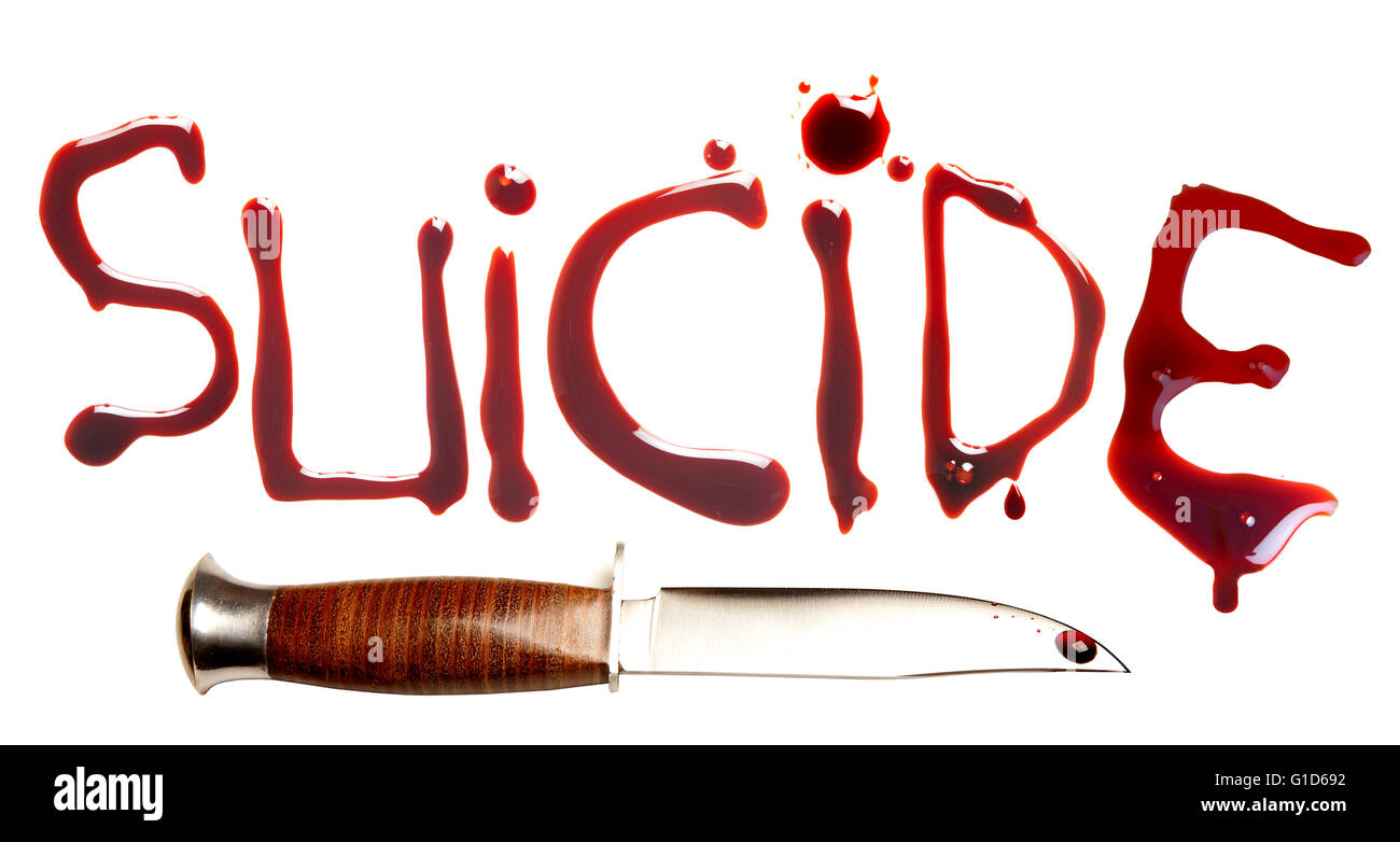 Sharp dagger and bloody letters as a symbol of suicide Stock Photo