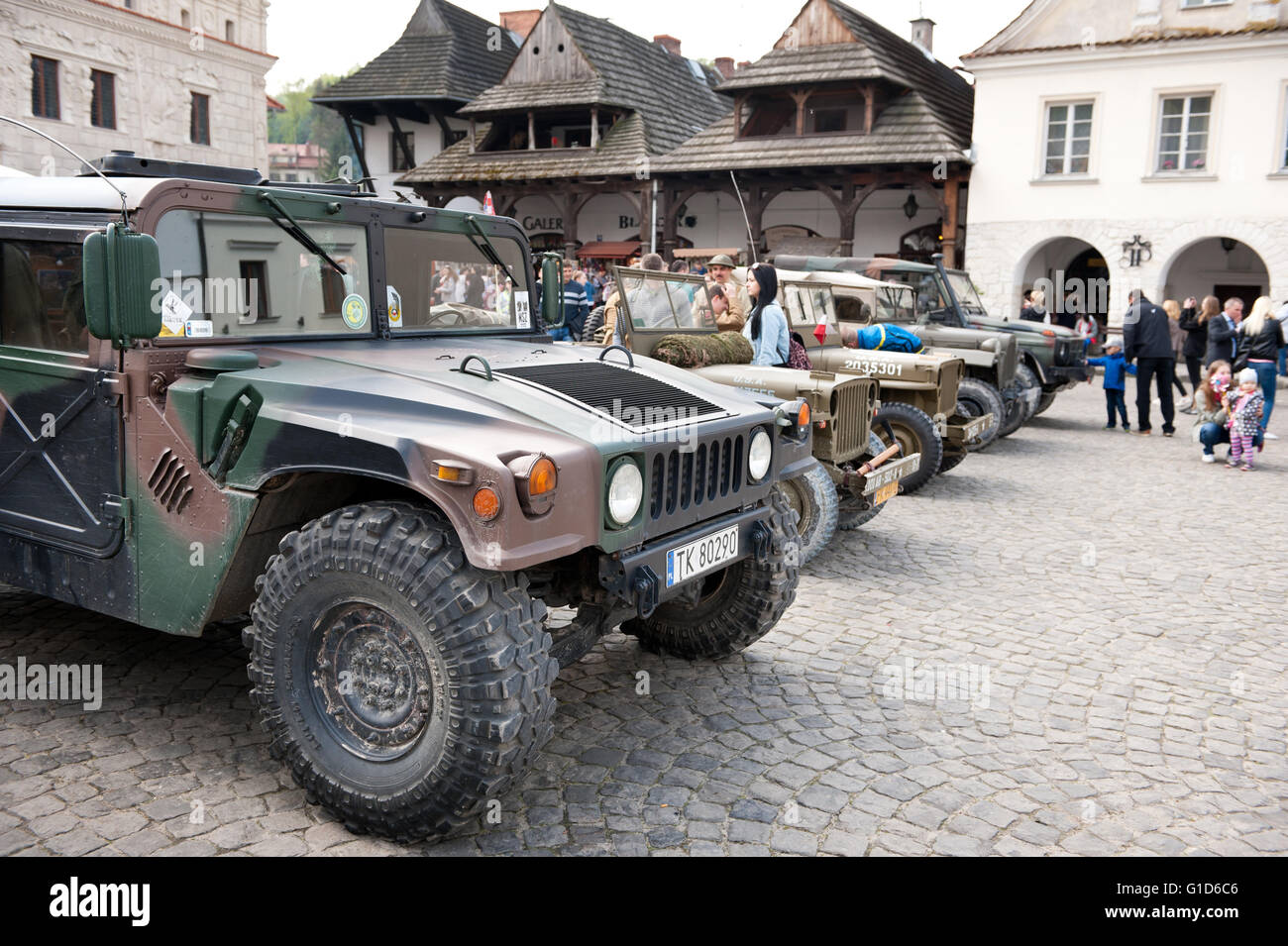 Willys in line at Rally VI military vehicles from World War II in Kazimierz Dolny, antique army cars event at the - Stock Image