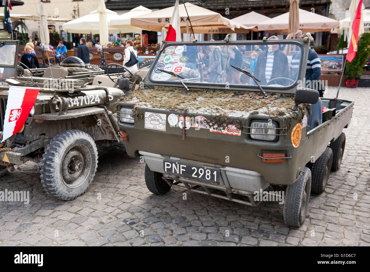 Army cars at Rally VI military vehicles from World War II in Kazimierz Dolny, antique cars event at the Market square, - Stock Image