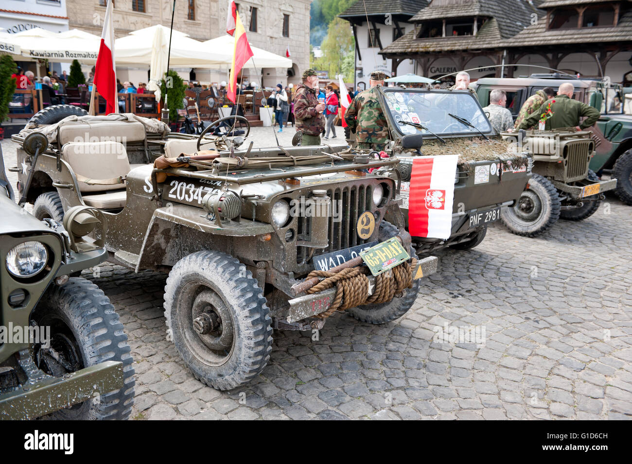 Willys trucks at Rally VI military vehicles from World War II in Kazimierz Dolny, antique army cars event at the - Stock Image