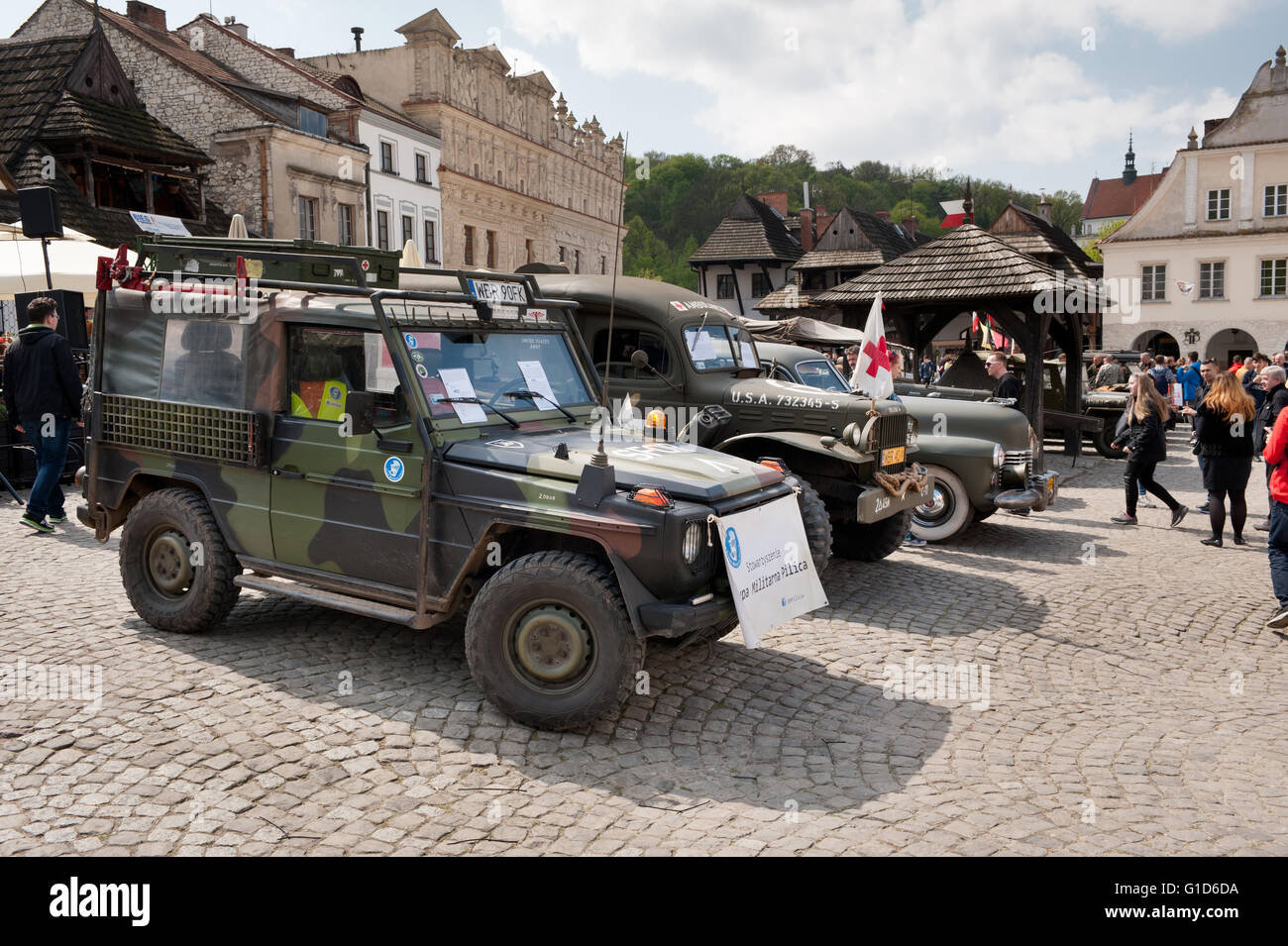 Willys show at Rally VI military vehicles from World War II in Kazimierz Dolny, antique army cars event at the Market - Stock Image