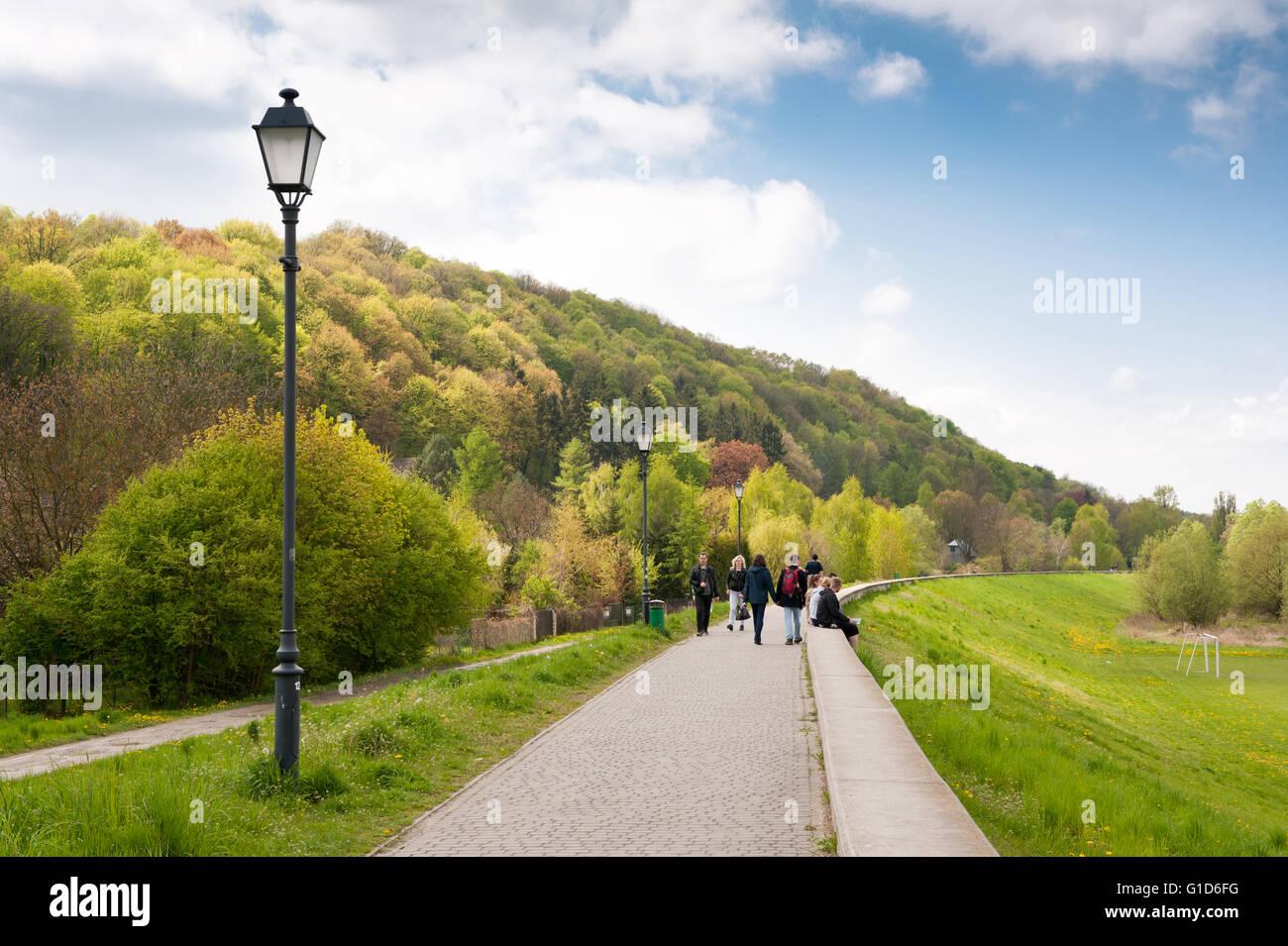 Walking on boulevards in Kazimierz Dolny by the Vistula River, Poland, Europe, promenade landscape in spring season... - Stock Image
