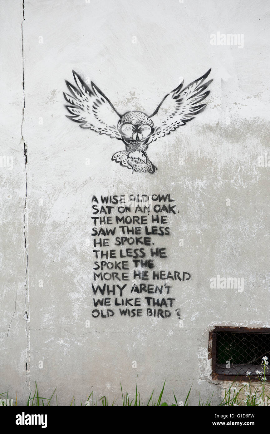 A Wise Old Owl Rhyme Poem Memorable Spray Graffiti Quote Stenciled On The Wall Of Building In Kazimierz Dolny Poland Europe