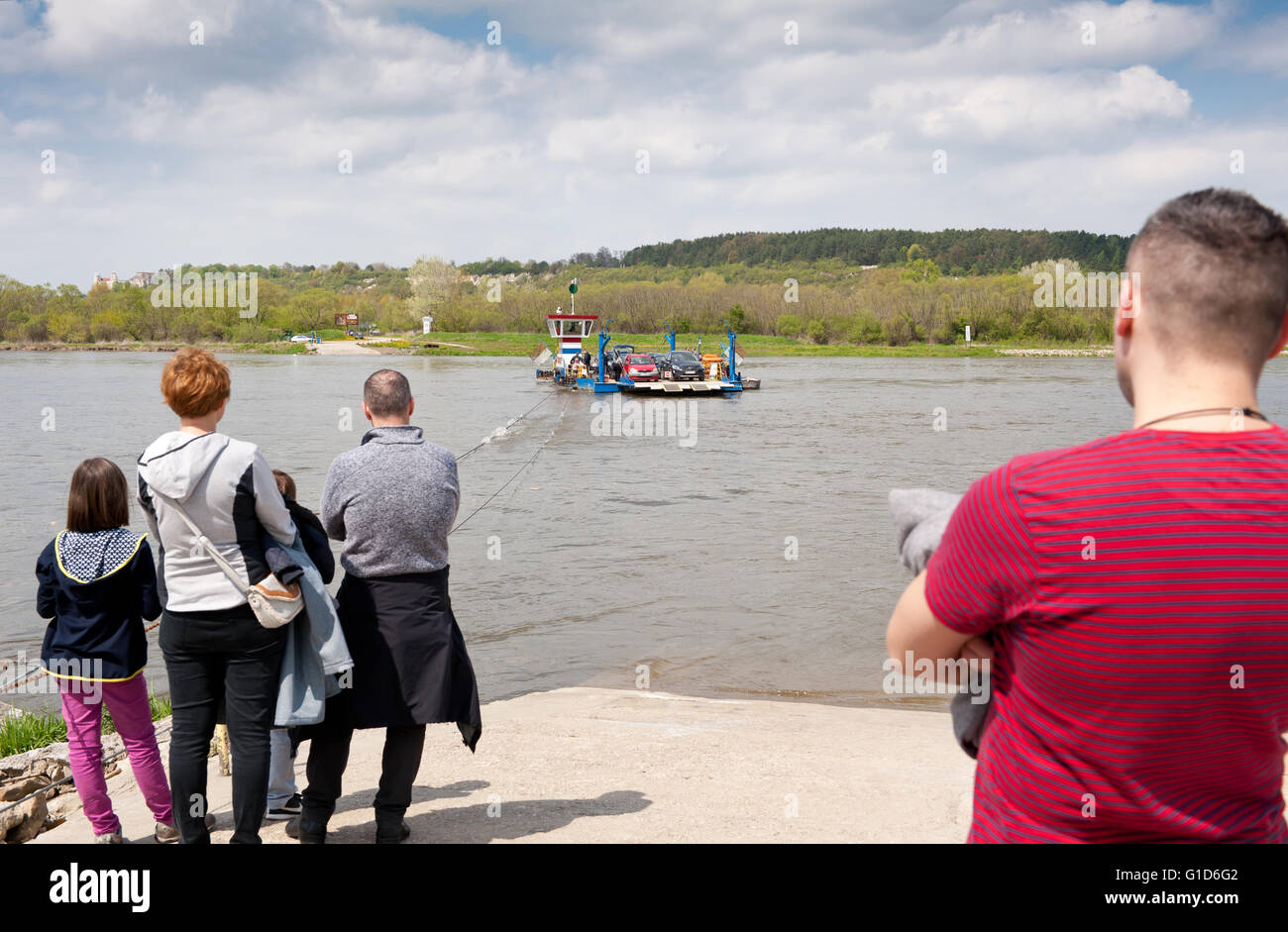 Cable ferry ship to Kazimierz Dolny from Janowiec in Poland, Europe, passenger local floating bridge is small ship - Stock Image