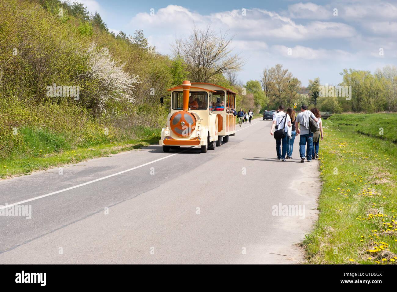 Excursion passenger locomotive tour to Janowiec near Kazimierz Dolny, Poland, Europe, local choo choo vehicle train - Stock Image