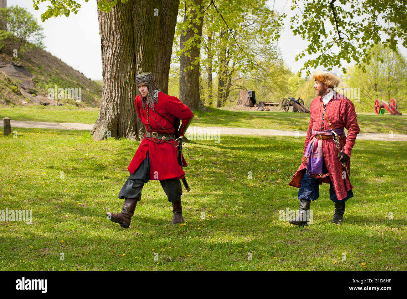 May day picnic re-creation in Janowiec Castle event of Swedes assault on the castle, historical battle reenactment - Stock Image