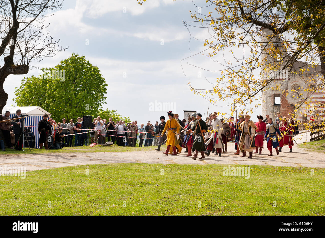 Swedes assault on the Janowiec Castle event of historical battle reenactment at Majowka z Kmicicem show, Swedish - Stock Image
