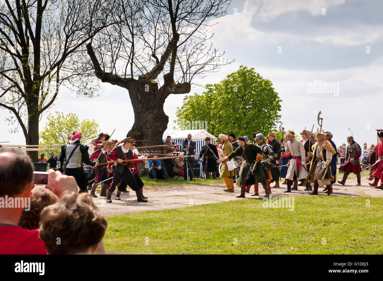 Swedes invasion on the Janowiec Castle, event of the historical battle reenactment at Majowka z Kmicicem show, Swedish - Stock Image