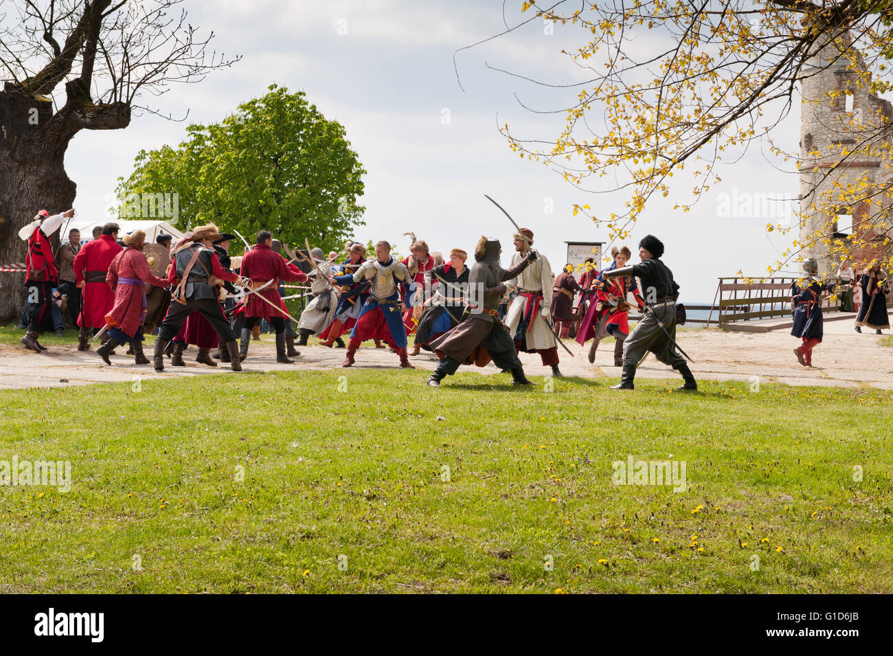 Historical battle reenactment in Janowiec Castle, Swedish assault improvisation event at Majowka z Kmicicem show, - Stock Image