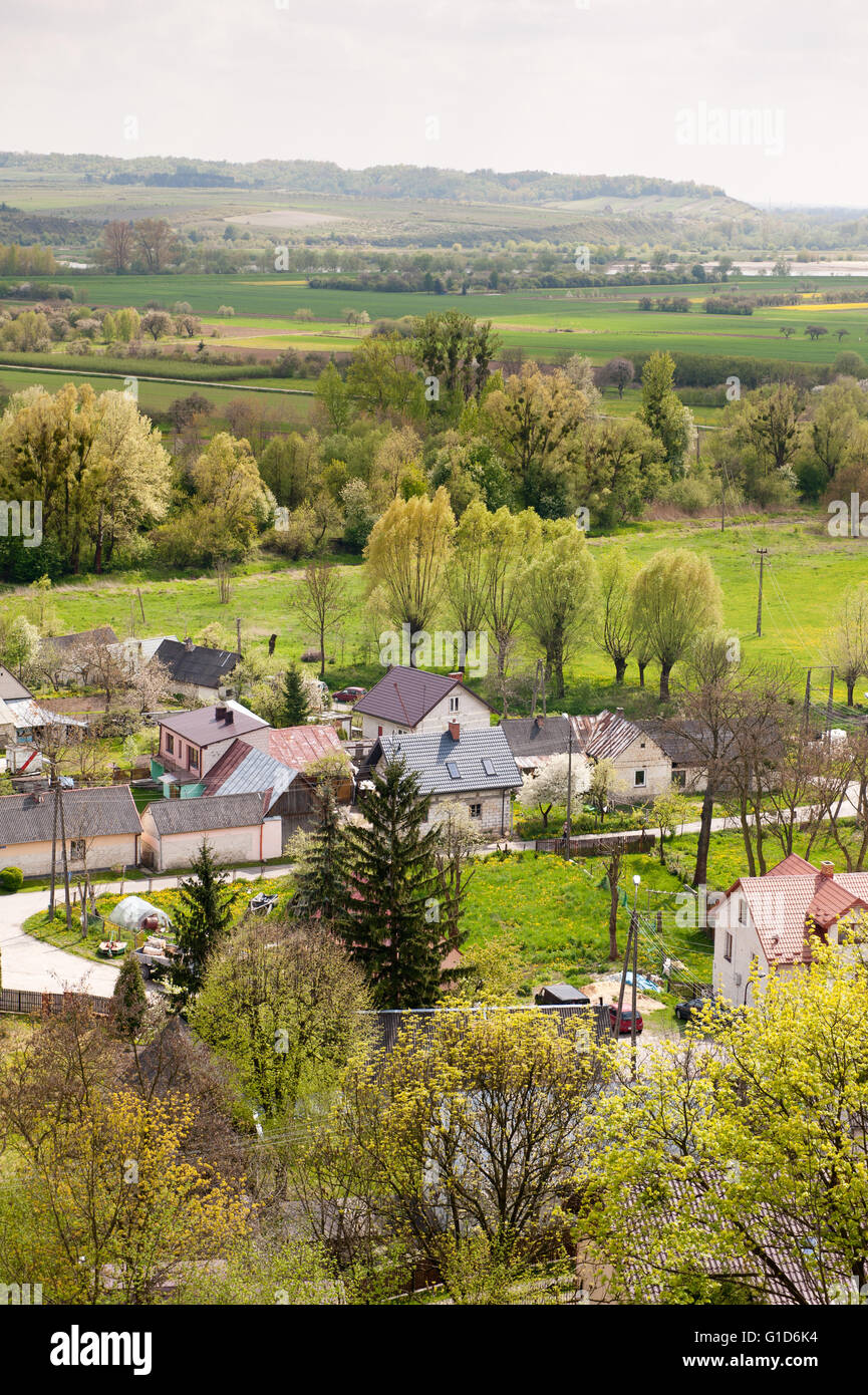 Village aerial landscape at Janowiec, view from castle hillside, calming rural scenery and spring green nature active - Stock Image