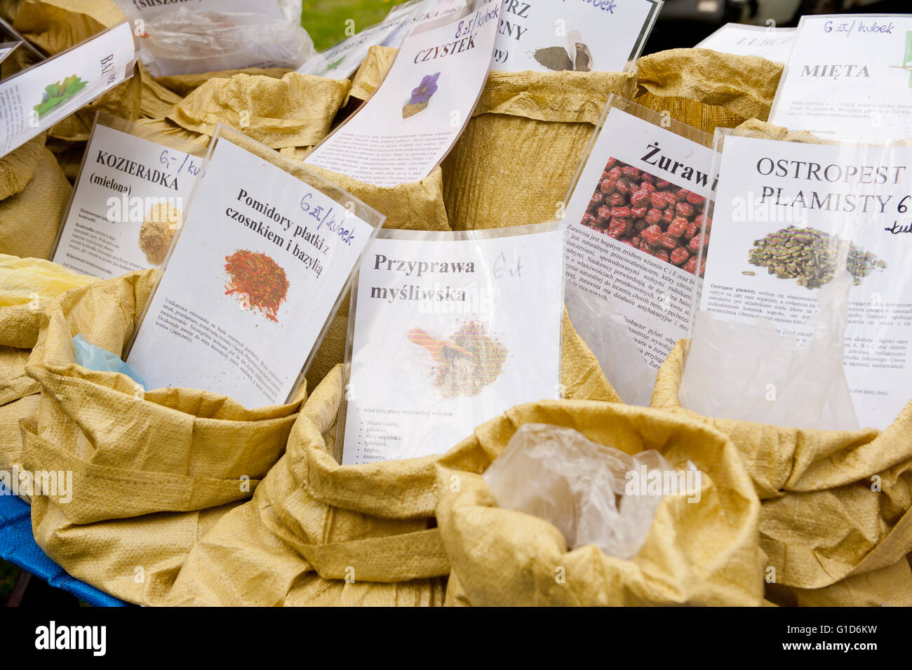 Seasonings in bags at food fair at May day picnic in Janowiec Castle in Poland, Europe, leisure during Swedes invasion - Stock Image