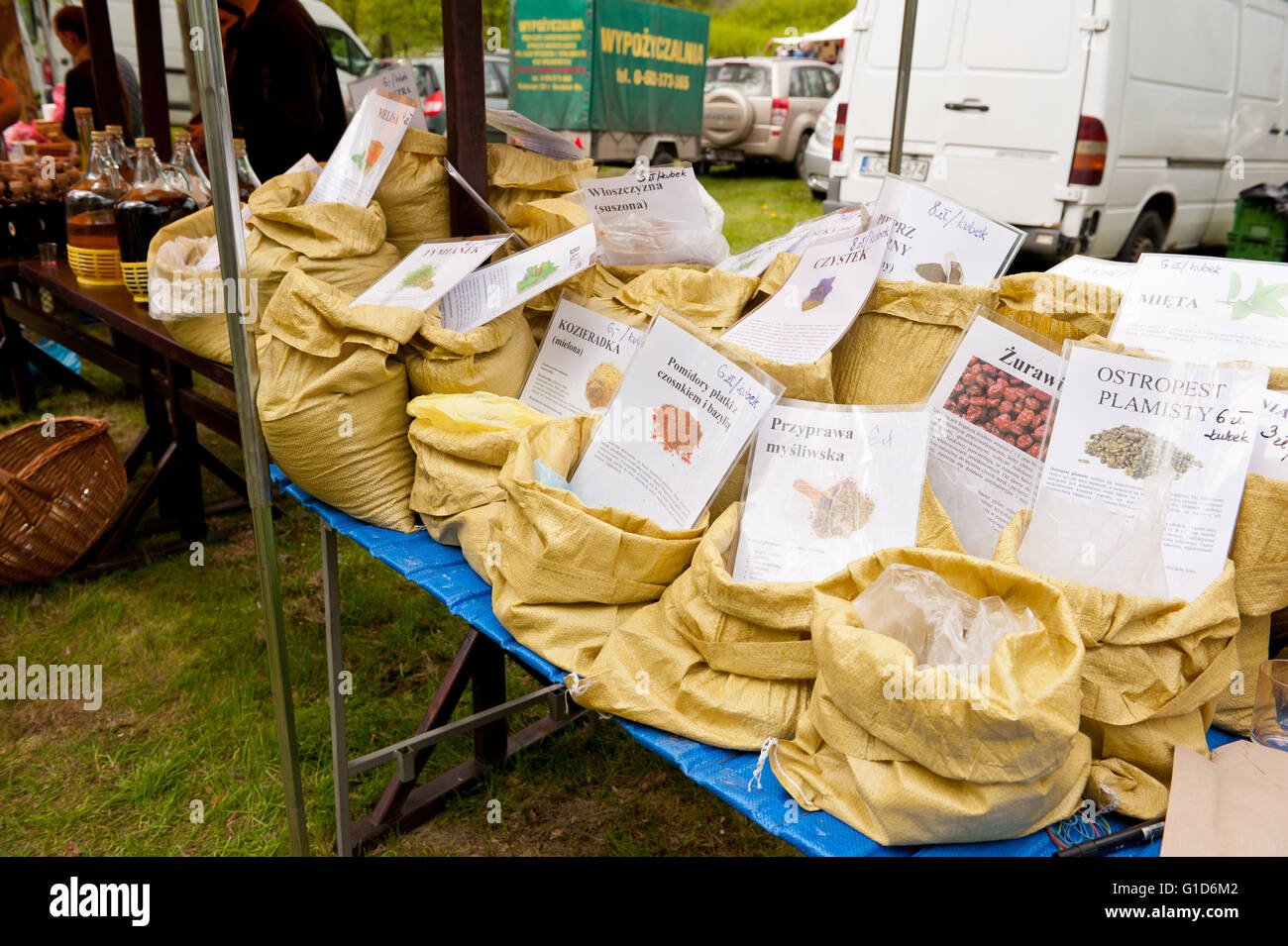 Spices in bags at food fair at May day picnic in Janowiec Castle in Poland, Europe, leisure during Swedes invasion - Stock Image