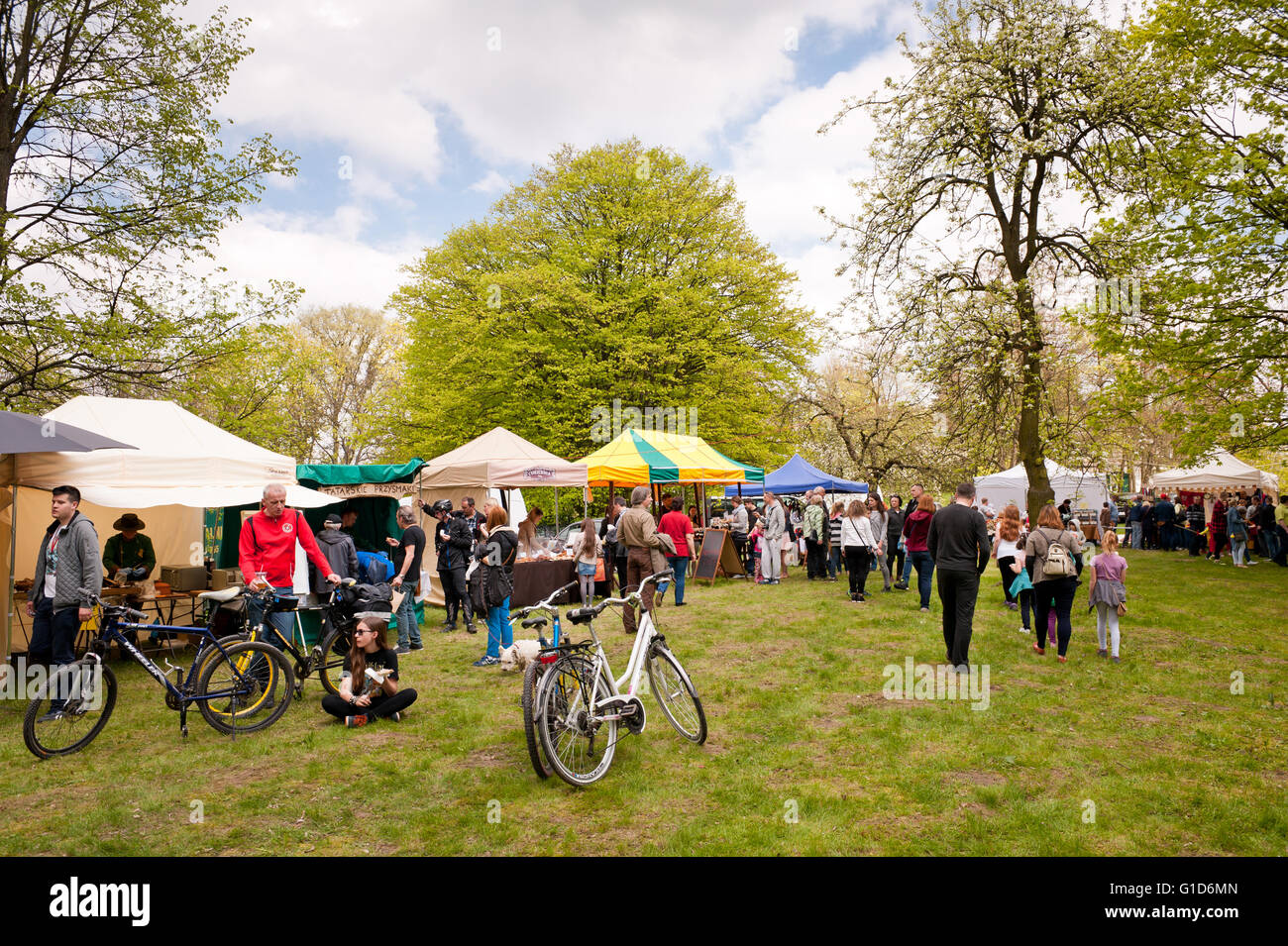 Food fair at May day picnic in Janowiec Castle in Poland, Europe, leisure during Swedes invasion reenactment, tables - Stock Image