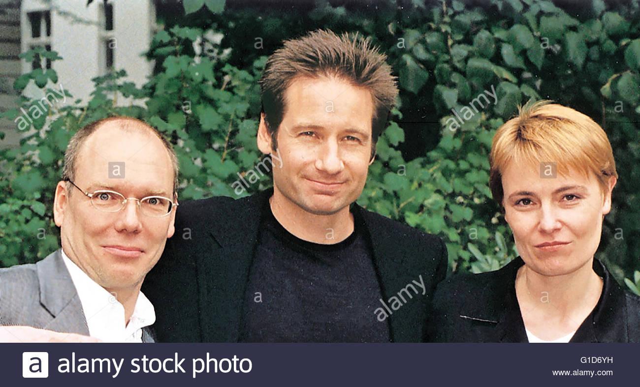 Akte X - Der Film (Promotiontour) / Peter Schulze (Presse Fox, Berlin) / David Duchovny / Eva Conradi (Head of Publicity - Stock Image