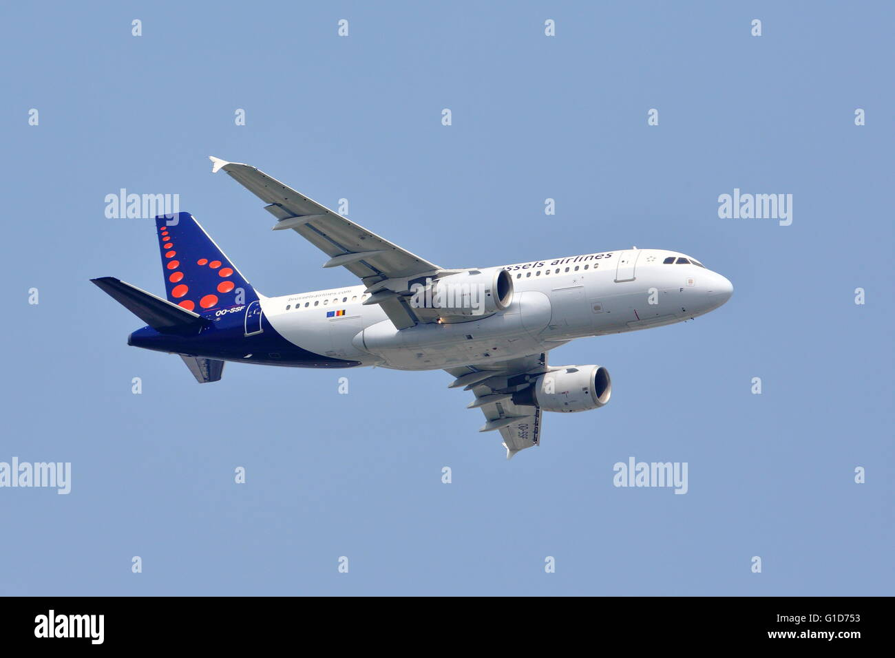 Brussels Airlines Airbus A319-111 OO-SSF departing from London Heathrow Airport, UK - Stock Image
