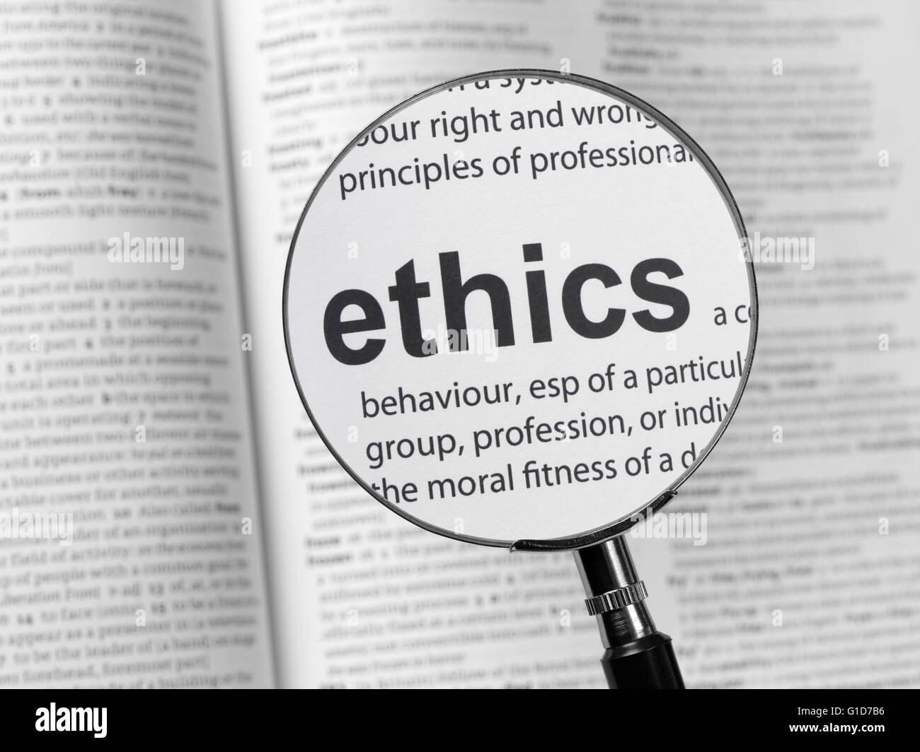 Dictionary highlighting Ethics - Stock Image