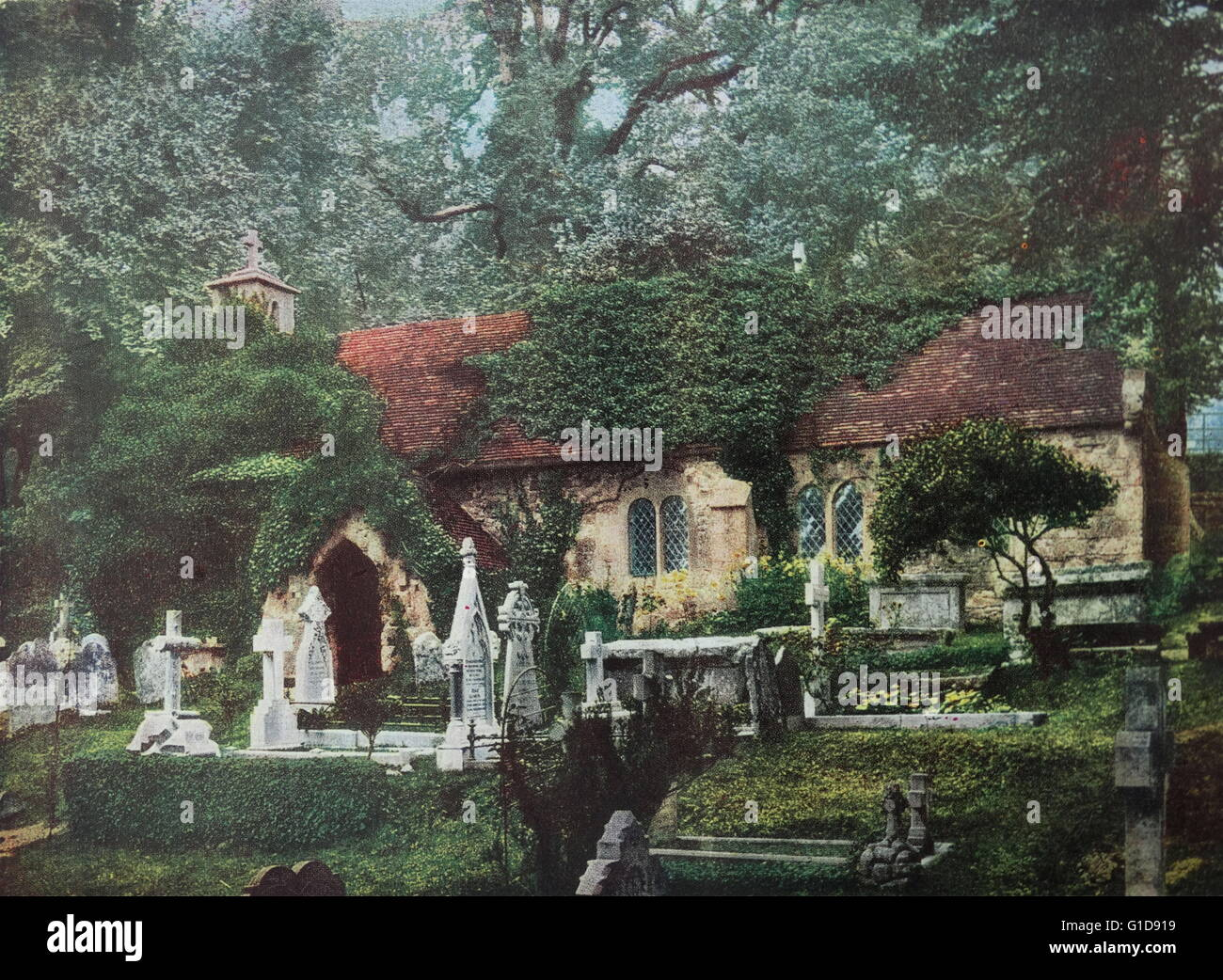Early 20th Century photochrom image depicting Bonchurch on the Isle of Wight. 1905, England. - Stock Image