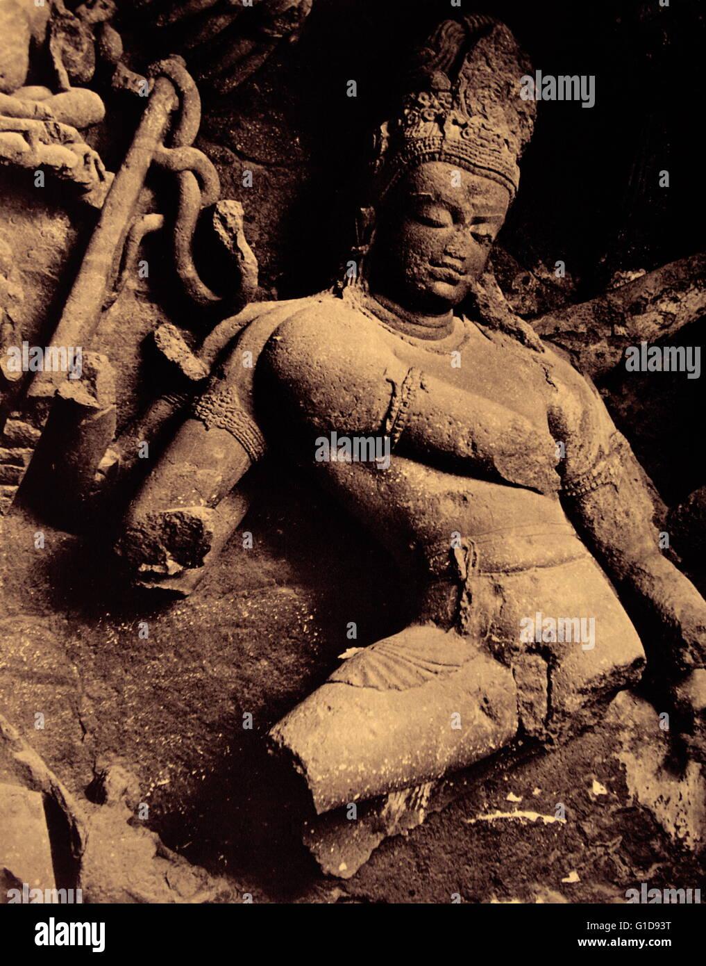 Shiva as Nataraja (Cosmic dancer)at the Elephanta Caves (on Elephanta Island in Mumbai Harbour, India). Shiva as - Stock Image