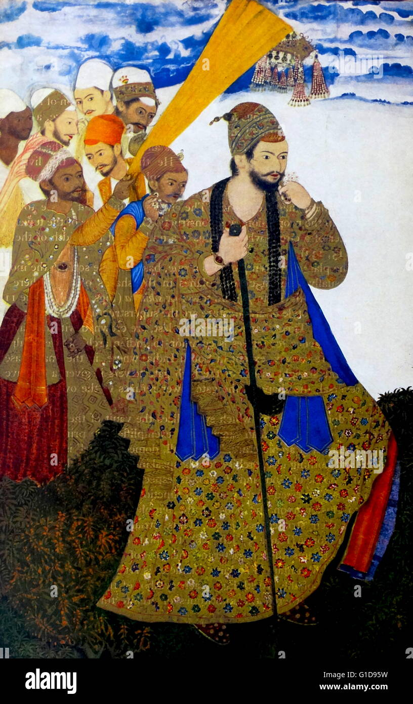 Ibrahim Adil Shah II (1556 – 1627) was king of the Sultanate of Bijapur and  a member of the Adil Shahi dynasty. Indian miniature 1591