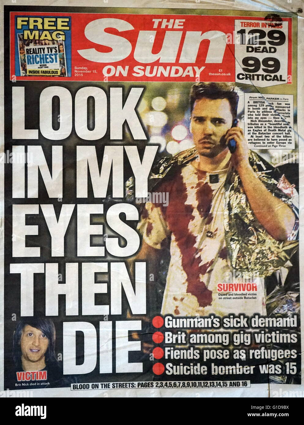 The Sun, front page, following the 13 November 2015, coordinated terrorist attacks in Paris, France. The attackers - Stock Image