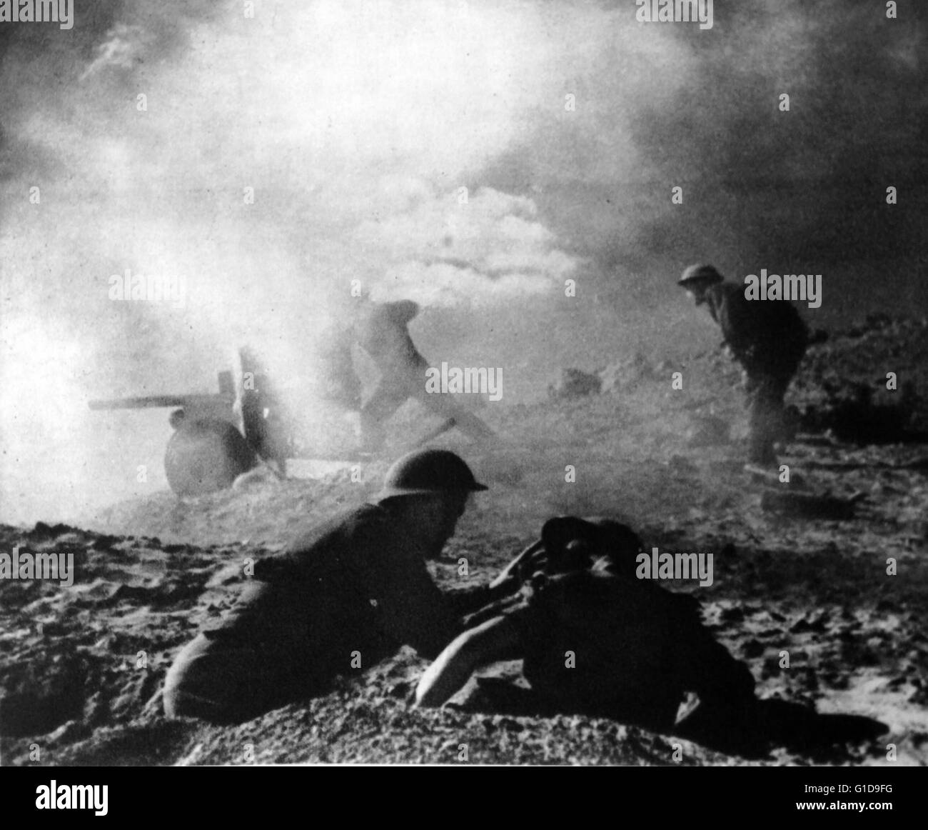 Allied troops in world war II fighting in the Djebel hills in Tunisia campaign 1943. - Stock Image