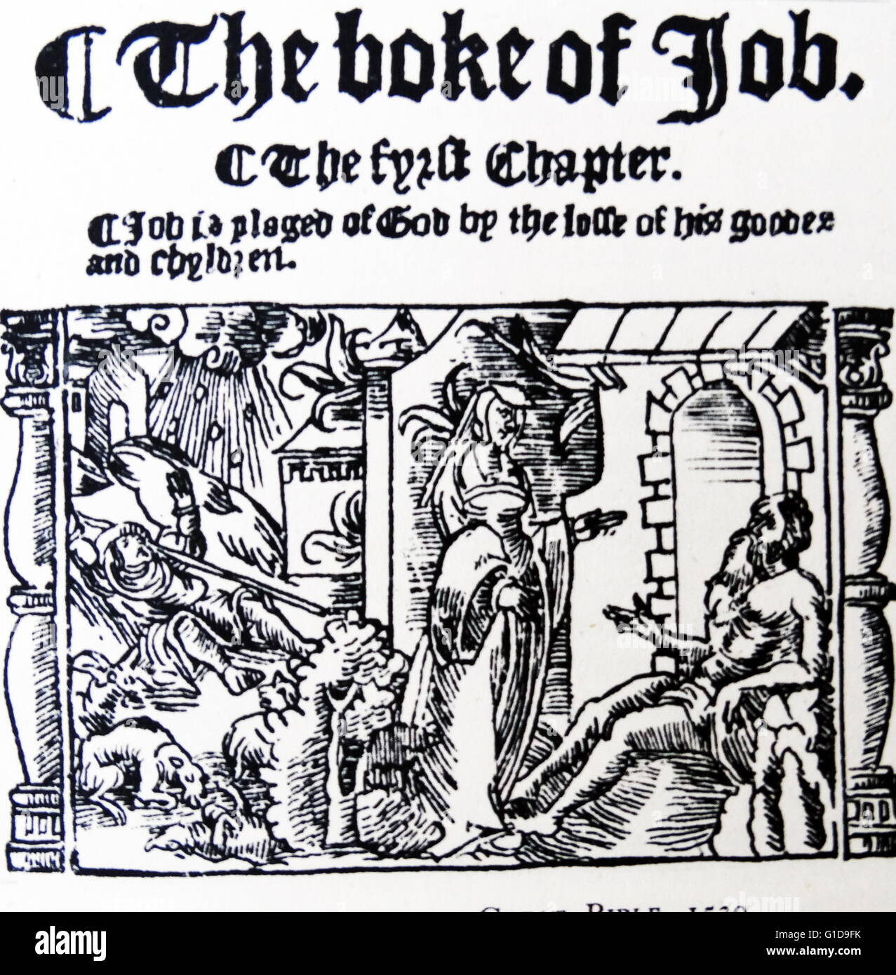 Woodcut from the great bible of 1539, which was the first authorised  English edition published by permission of King Henry VIII