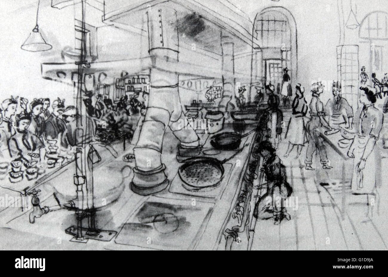 Drawing By Anthony Cross Showing A World War Two Ats Kitchen Diner Stock Photo Alamy