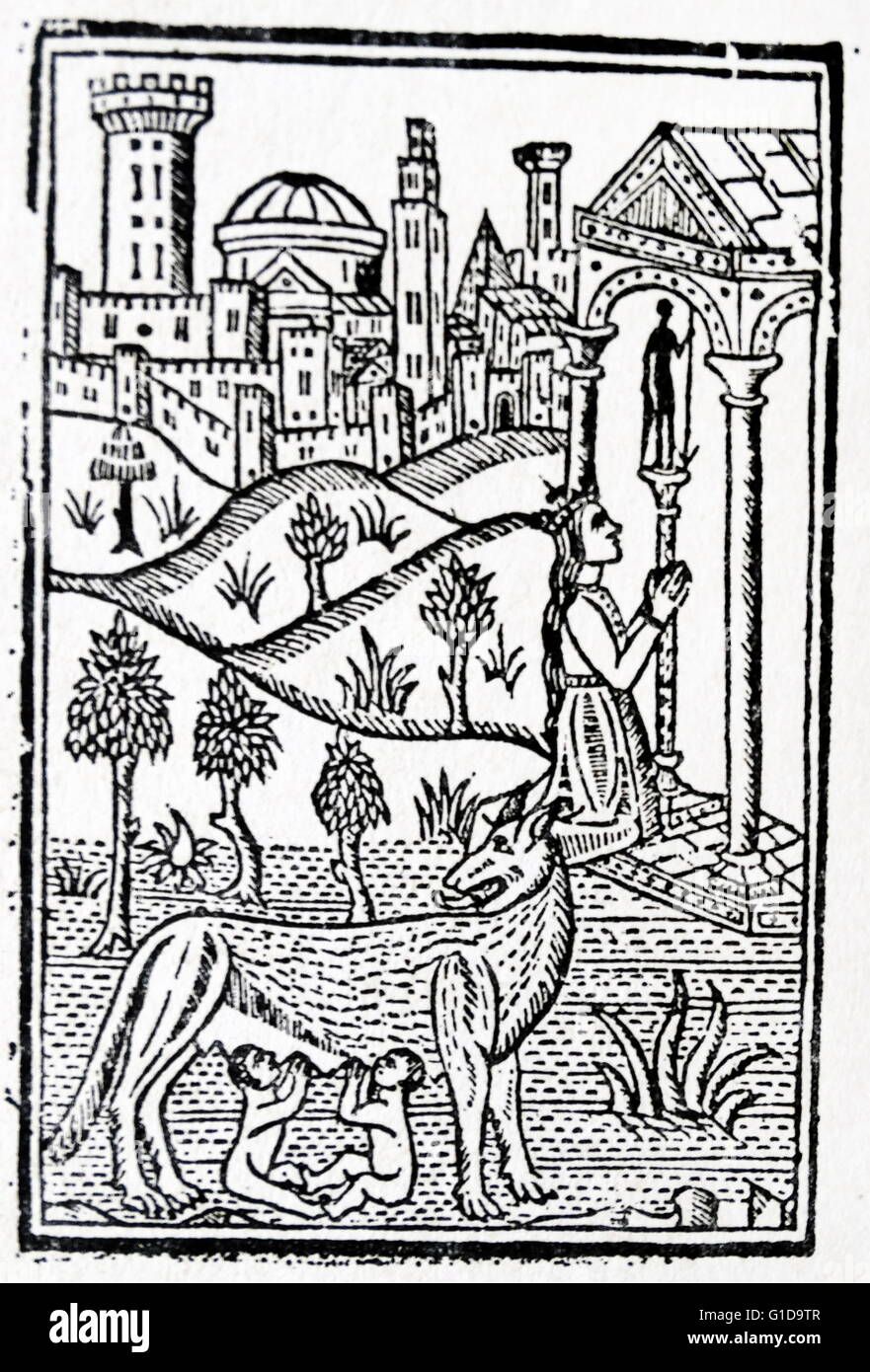 1500's pilgrim guide to Rome. Woodcut depicting the mother of Rome's founders, Romulus and Remus (suckled - Stock Image