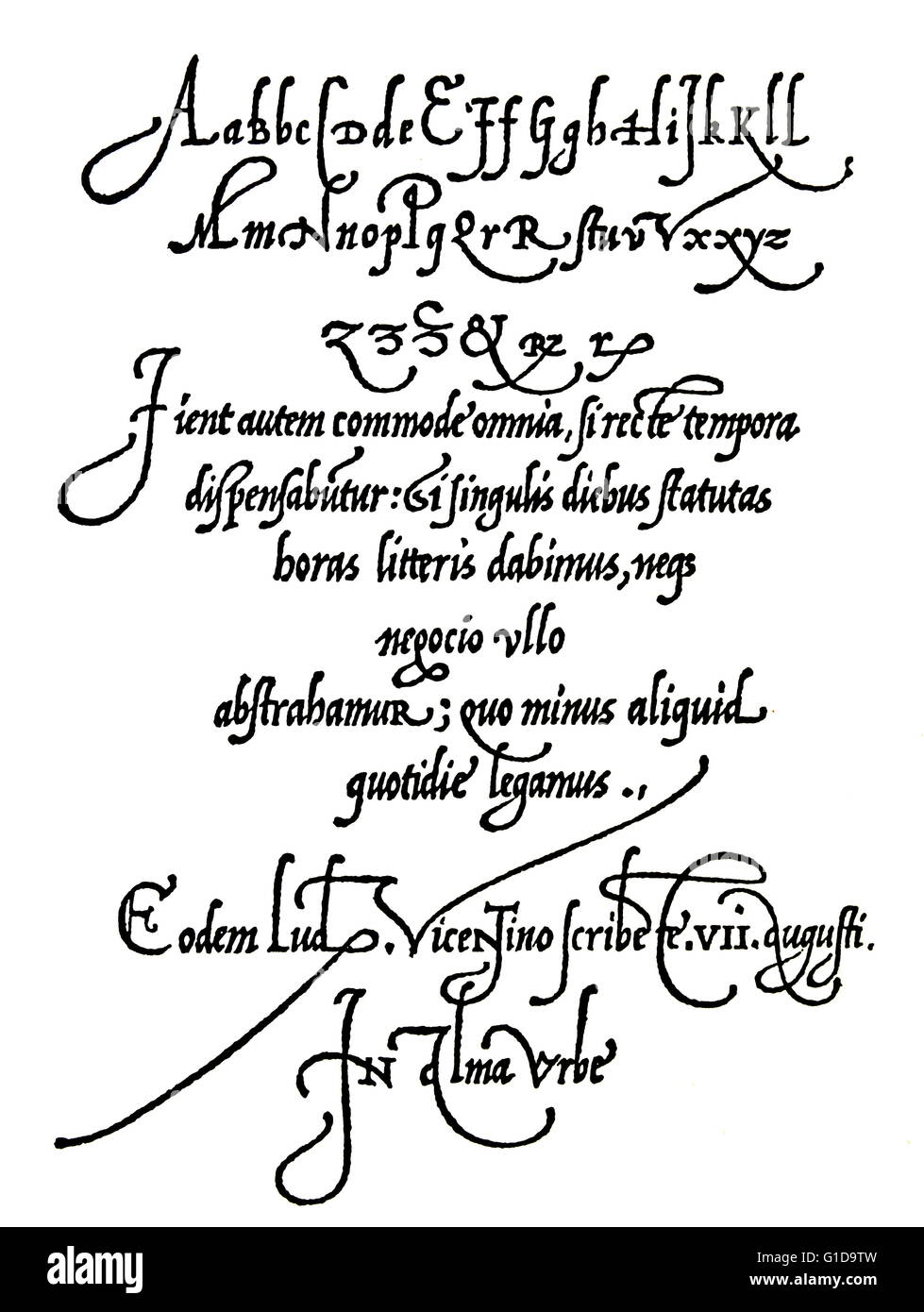 Page from Arrighi's Operina writing manual of 1539 showing handwriting styles of 16th century, early renaissance. - Stock Image