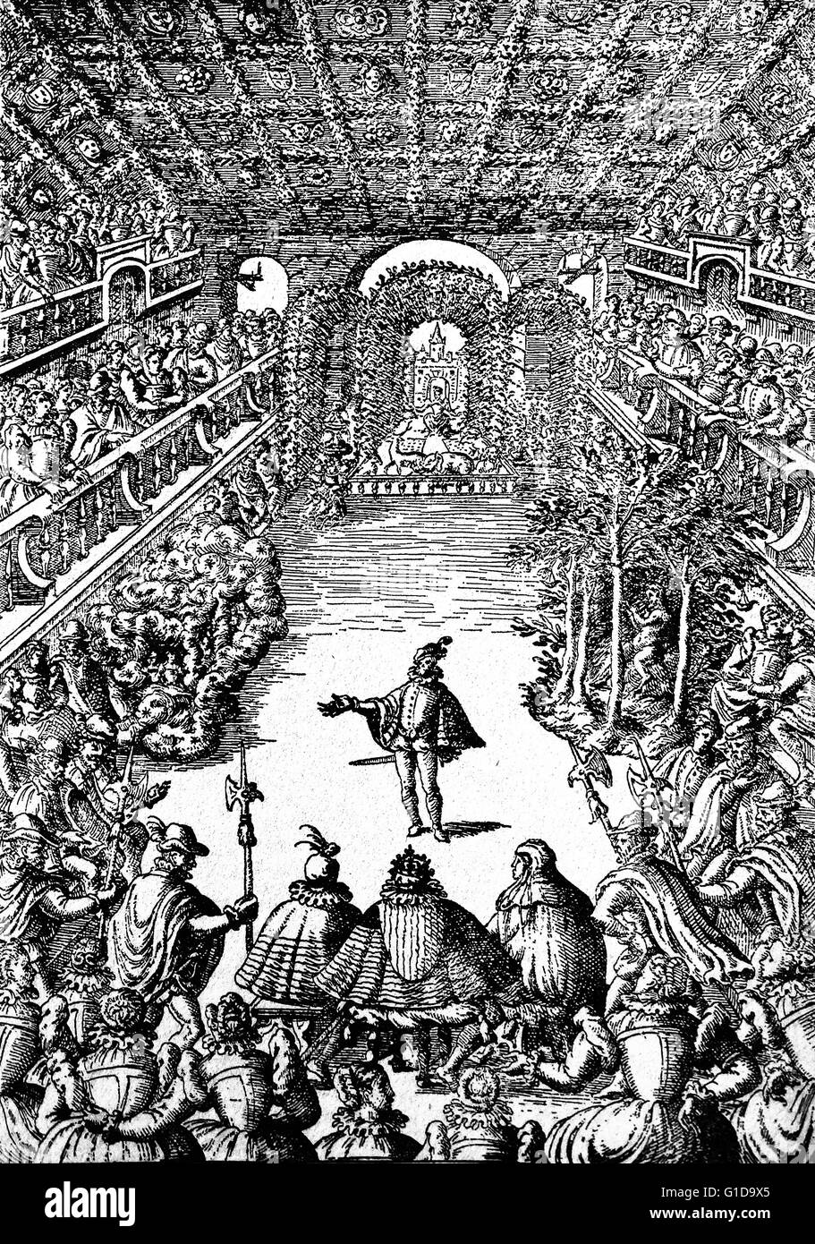 Representation of a Ballet before Henri III. and his Court, in the Gallery of the Louvre. Re-engraving from an original Stock Photo