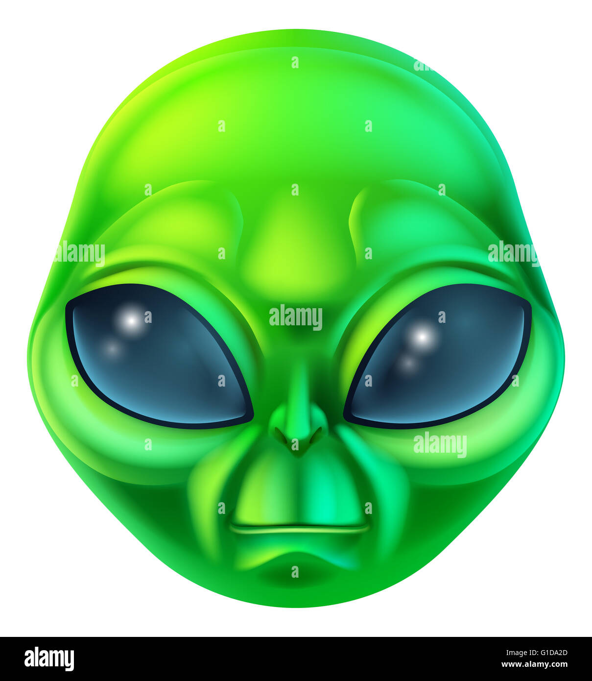 A friendly green cartoon alien extraterrestrial character - Stock Image