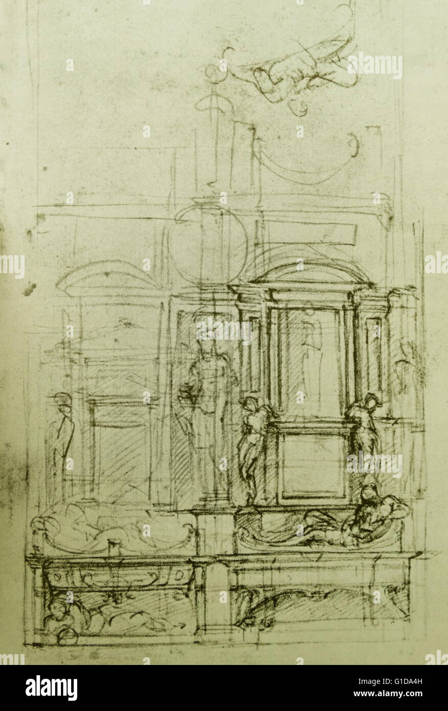 Michelangelo sketch for an architectural feature. Michelangelo Buonarroti 1475-1564; renaissance architect; engineer; - Stock Image