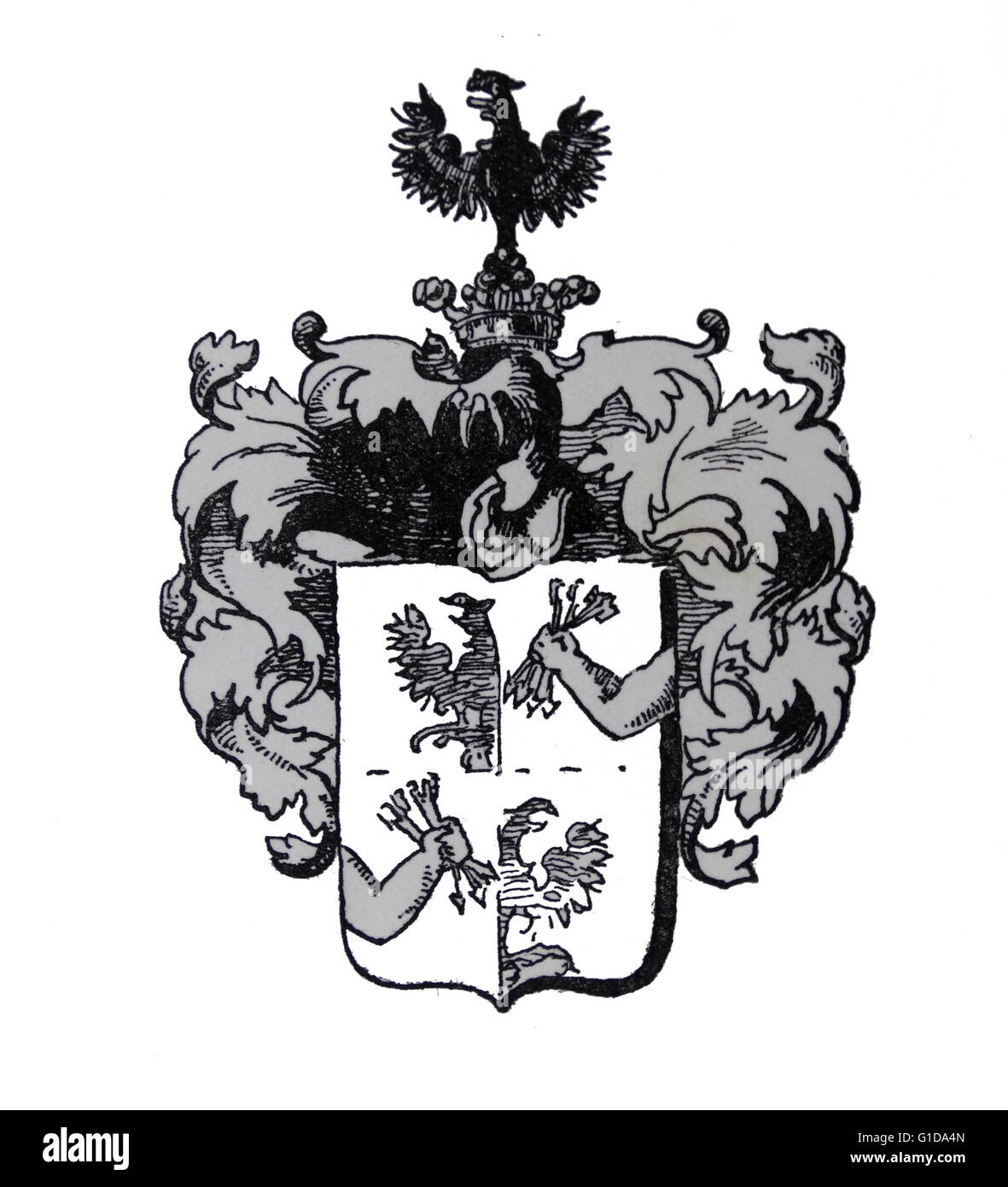 Family crest of the Rothschild banking family. The Rothschild's were a family financial dynasty in the 18th - Stock Image