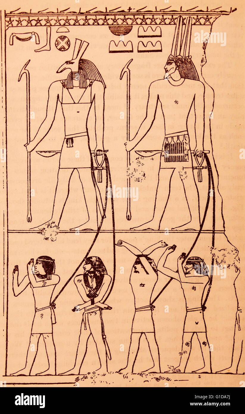 Drawing from an Egyptian Temple depicting gods with foreign captives Stock Photo