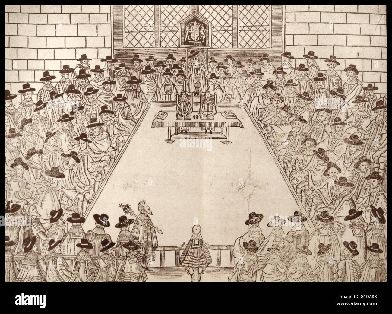 Meeting of the English parliament under the Speaker Sir John Finch 1627 (woodcut). - Stock Image